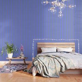Cobalt Blue and White Vertical Beach Hut Stripe Wallpaper