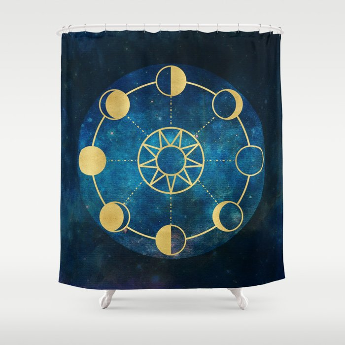 Gold Moon Phases Sun Stars Night Sky Navy Blue Shower Curtain by ...