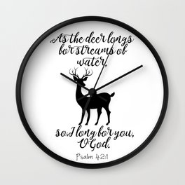 As The Deer Longs Psalm 42:1 Wall Clock