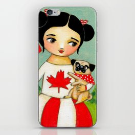 Canada Day Celebration with Pug dog by Tascha iPhone Skin