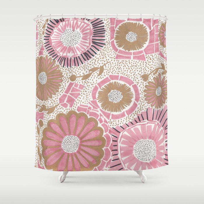 Pink gold flowers shower curtain by melaniab society6 pink gold flowers shower curtain mightylinksfo