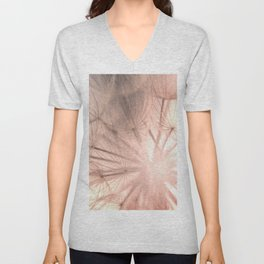 Pink Dandelion Macro Nature Photography Art and Apparel Unisex V-Neck