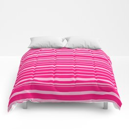 Bright hot and pale pink abstract horizontal linework Comforters