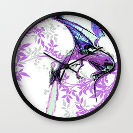 DRAGON AND PURPLE LEAVES Wall Clock