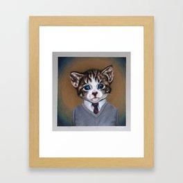 Business casual kitten Framed Art Print