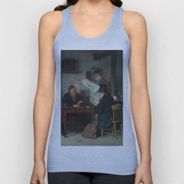 Waiting for the Stage Oil Painting by Richard Caton Woodville Unisex Tank Top