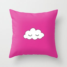 Dreaming cloud in pink background Throw Pillow