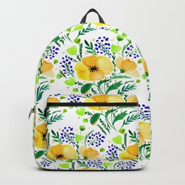 Flower bouquet with poppies - yellow and blue Backpack