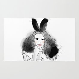 Fashionable easter bunny girl Rug