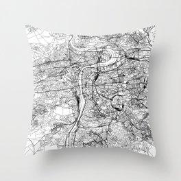 Prague White Map Throw Pillow