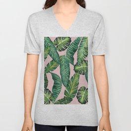 Jungle Leaves, Banana, Monstera II Pink #society6 Unisex V-Neck