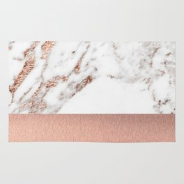 Rose gold marble and foil Rug