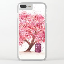 Tardis Art Autumn Tree Blossom Clear iPhone Case