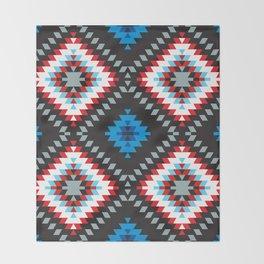 Colorful patchwork mosaic oriental kilim rug with traditional folk geometric ornament. Tribal style Throw Blanket