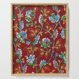 Red Folk Floral Serving Tray