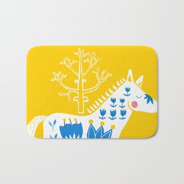 Folk horse on yellow Bath Mat