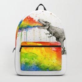 T-Rex Dinosaur Rainbow Puke Taste the Rainbow Watercolor Backpack
