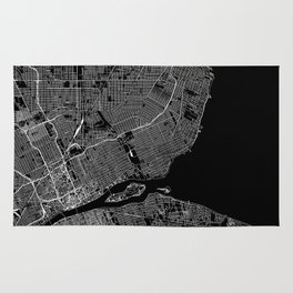 Detroit Black Map Rug