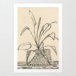 Line drawing leaves Art Print