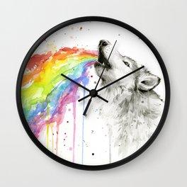 Wolf Rainbow Watercolor Animal Wall Clock