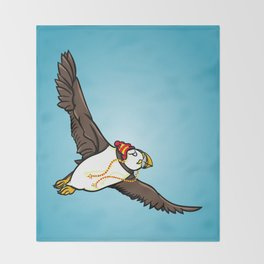 Puffin Wearing A Hat Throw Blanket