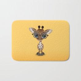 Cute Curious Baby Giraffe Wearing Glasses Bath Mat