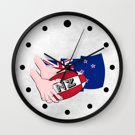 Rugby Ball New Zealand Wall Clock