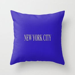New York City (type in type on blue) Throw Pillow