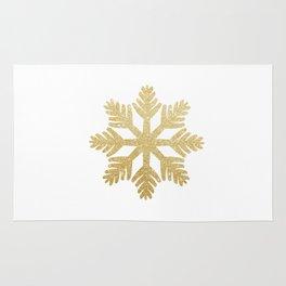 Gold Glitter Snowflake Rug