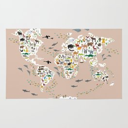 Cartoon animal world map, back to schhool. Animals from all over the world rosybrown background Rug