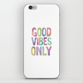 Good Vibes Only Watercolor Rainbow Typography Poster Inspirational childrens room nursery iPhone Skin