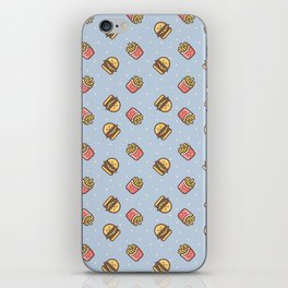 Cute pink brown blue funny fries burger food triangles pattern iPhone Skin