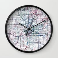 atlanta Wall Clocks featuring Atlanta map by MapMapMaps.Watercolors