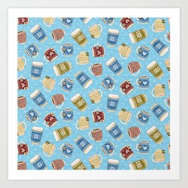 Cozy Mugs - Bg Blue Wood Art Print