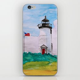 Cape Poge Lighthouse, Martha's Vineyard watercolor iPhone Skin