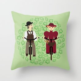 Retro cyclists. Summer Throw Pillow