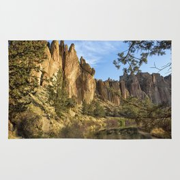 Cool Formations of Smith Rock in Morning Light Rug