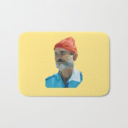 Steve Zissou low poly portrait Bath Mat