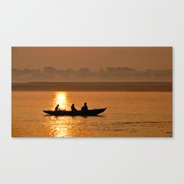 Sunset boat ride on the Ganges Canvas Print