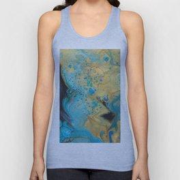 Fluid nature - Golden Sands -  Acrylic Pour Art Unisex Tank Top