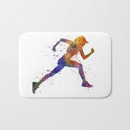 Woman runner jogger running Bath Mat