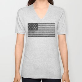 American flag - retro style in grayscale Unisex V-Neck