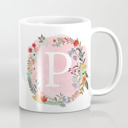 Flower Wreath with Personalized Monogram Initial Letter P on Pink Watercolor Paper Texture Artwork Coffee Mug