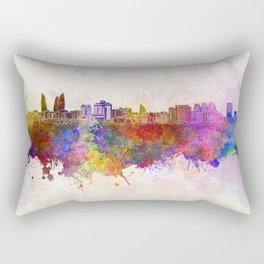 Baku skyline in watercolor background Rectangular Pillow