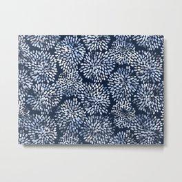 Abstract Navy Watercolor Line Flowers Metal Print