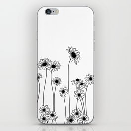 Minimal line drawing of daisy flowers iPhone Skin