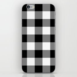 Black and White Buffalo Plaid iPhone Skin