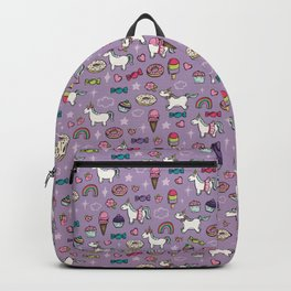 Purple Unicorns & Sweet Daydreams, Little Girls Decor, Bright, Sweets Backpack
