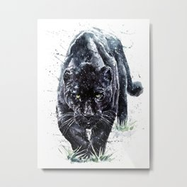 Panther watercolor painting predator animals puma Metal Print