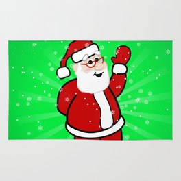 Christmas Santa in Red Suit Green Background Snow Rug